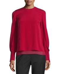 3.1 Phillip Lim Long Sleeve Tiered Silk Blouse Ruby