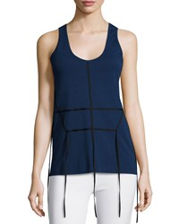 Cedric Charlier Cedric Charlier Tape Effect Cotton Jersey Tank Top Navy Black Nvyblk