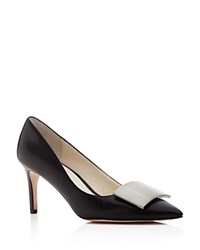 Bettye Muller Amuse Pointed Toe Mid Heel Pumps Black Silver