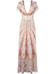 Etro Floral Print Evening Dress White