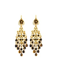 Jose And Maria Barrera Crystal Long Chandelier Drop Earrings Black