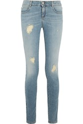 Stella Mccartney Distressed Mid Rise Skinny Jeans Blue