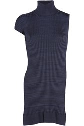 Jil Sander Open Back Ribbed Knit Top Navy