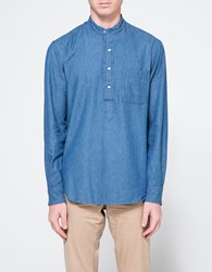 Gitman Brothers Vintage Band Collar Popover In Denim