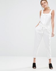 Oasis Stripe Peg Paperbag Trousers Multi Ivory White