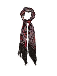 Rockins Prickly Paisley Print Fringed Classic Skinny Scarf Grey Multi