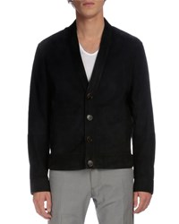 Berluti Suede Button Down Cardigan Jacket Navy