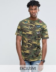 Reclaimed Vintage Camo T Shirt With Butterfly Patches Camo Green