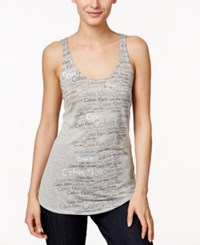 Calvin Klein Jeans Logo Metallic Print Tank Top Grey Heather