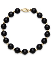 Macy's Faceted Onyx Bead Bracelet 3Mm In 10K Gold Black