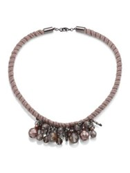 Peserico Woven Beaded Necklace Taupe