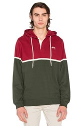 Stussy Hooded Rugby Red