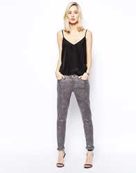 7 For All Mankind Cracked Leather Look Skinny Jeans Grey