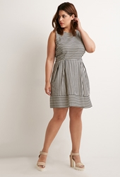 Forever 21 Contrast Striped Fit And Flare Dress Cream Black