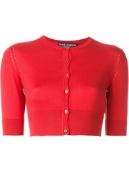 Dolce And Gabbana Perforated Panelled Cropped Cardigan Red
