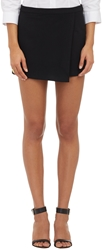 Barneys New York Crepe Faux Wrap Skort Black