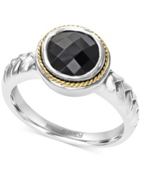 Effy Collection Effy Onyx 1 3 4 Ct. T.W. Braid Ring In Sterling Silver And 18K Gold Sterilng Silver
