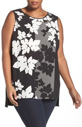 Vince Camuto Plus Size Women's Floral Print Mixed Media Top