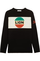 Bella Freud Lion Stripe Intarsia Merino Wool Sweater Black