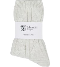 Johnstons Cable Knit Cashmere Socks White Noise