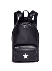 Givenchy Small Star Applique Leather Backpack Black