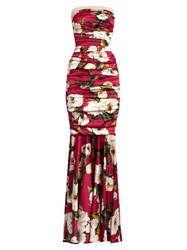 Dolce And Gabbana Peony Print Strapless Silk Blend Satin Gown Pink Multi