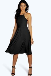 Boohoo Strappy Backless Midi Skater Dress Black