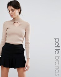 New Look Petite Keyhole Ribbed Jumper Camel Beige
