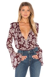 Band Of Gypsies Vintage Floral Bodysuit Burgundy