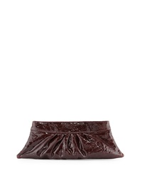 Lauren Merkin Louise Patent Calfskin Clutch Bag Burgundy