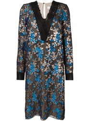 Lanvin Lace Accent Floral Dress Blue