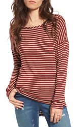 Women's Bp. Stripe Open Back Tee Burgundy Strip Louis Stripe