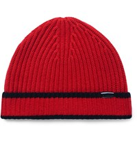 Burberry Contrast Tipped Ribbed Cashmere Beanie Red