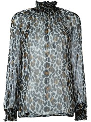 Marco Bologna 'Leopard' High Neck Blouse Black