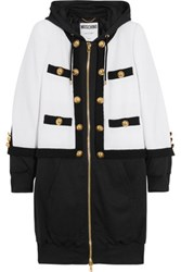 Moschino Hooded Wool Blend Boucle And Jersey Jacket White