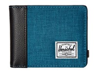 Herschel Edward Petrol Crosshatch Black Synthetic Leather Bi Fold Wallet Blue