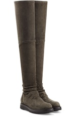 Rick Owens Suede Over The Knee Boots Green
