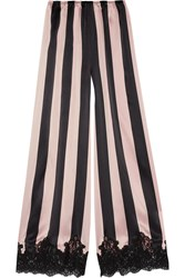 Rosamosario Amori Imprigionati Lace Trimmed Striped Silk Satin Pajama Pants Black Pink
