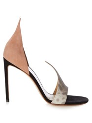 Francesco Russo Open Toe Snakeskin And Suede Pumps Pink Multi