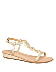 Jack Rogers Eve T Strap Leather Sandals Gold
