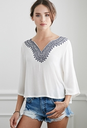 Forever 21 Embroidered Gauze Peasant Top Cream Blue