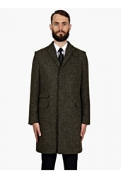 Mr Start Men's Olive Frayed Wool Crombie Coat