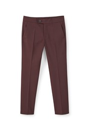 Mango Straight Cotton Trousers Red
