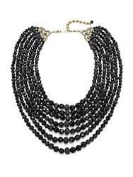 Heidi Daus Plaza Chic Multi Strand Faceted Necklace Black