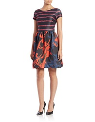 Taylor Mixed Pattern Fit And Flare Dress Black Multi