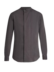 Giorgio Armani Collarless Wide Placket Shirt Grey
