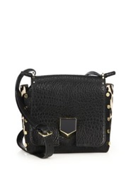 Jimmy Choo Small Pebbled Leather And Leopard Print Calf Hair Messenger Bag Black Leopard