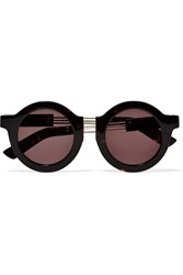House Of Holland On The Wire Round Frame Metal And Acetate Sunglasses Animal Print