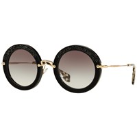 Miu Miu Mu80rs Round Metal Frame Sunglasses Black