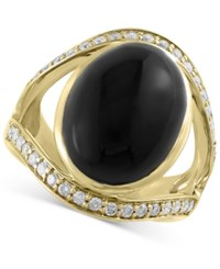 Effy Collection Eclipse By Effy Onyx 10 Ct. T.W. And Diamond 1 2 Ct. T.W. Ring In 14K Gold